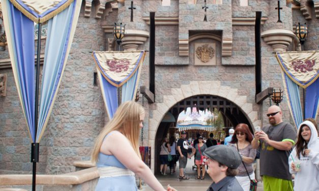Fairytale Proposal Outside Cinderella's Castle   Vacation Photographer in Disneyland