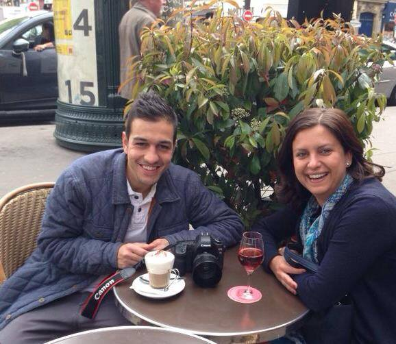 Goncalo and Mrs O enjoying a drink before the shoot. (Captured with Mr O