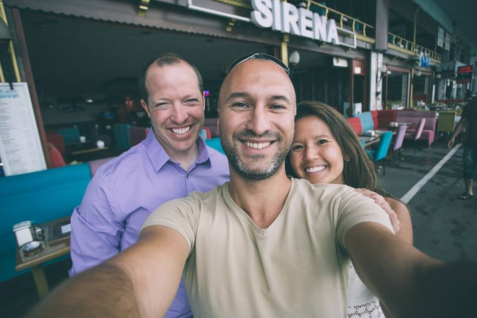 Ufuk takes a fun selfie with his customers after their shoot in Istanbul.