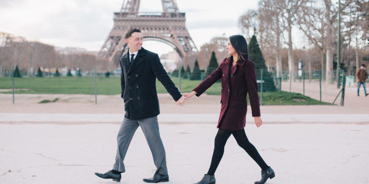 Romantic Parisian Engagement Shoot at the Eiffel Tower | Paris Vacation Photographer