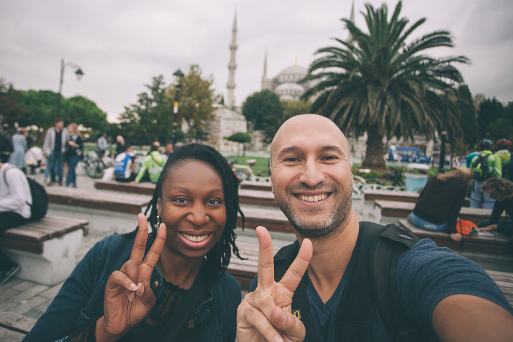 Big smiles post-shoot with Lonette and Flytographer  Ufuk in Istanbul .