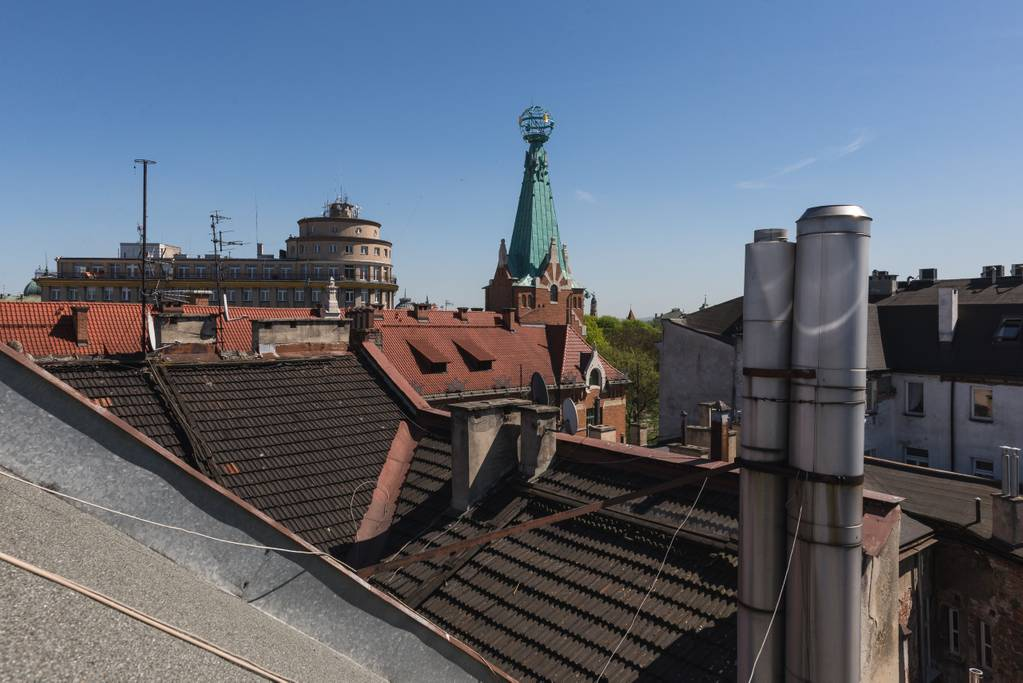 The view from this Krakow Airbnb penthouse. (Photo: Courtesy Airbnb)