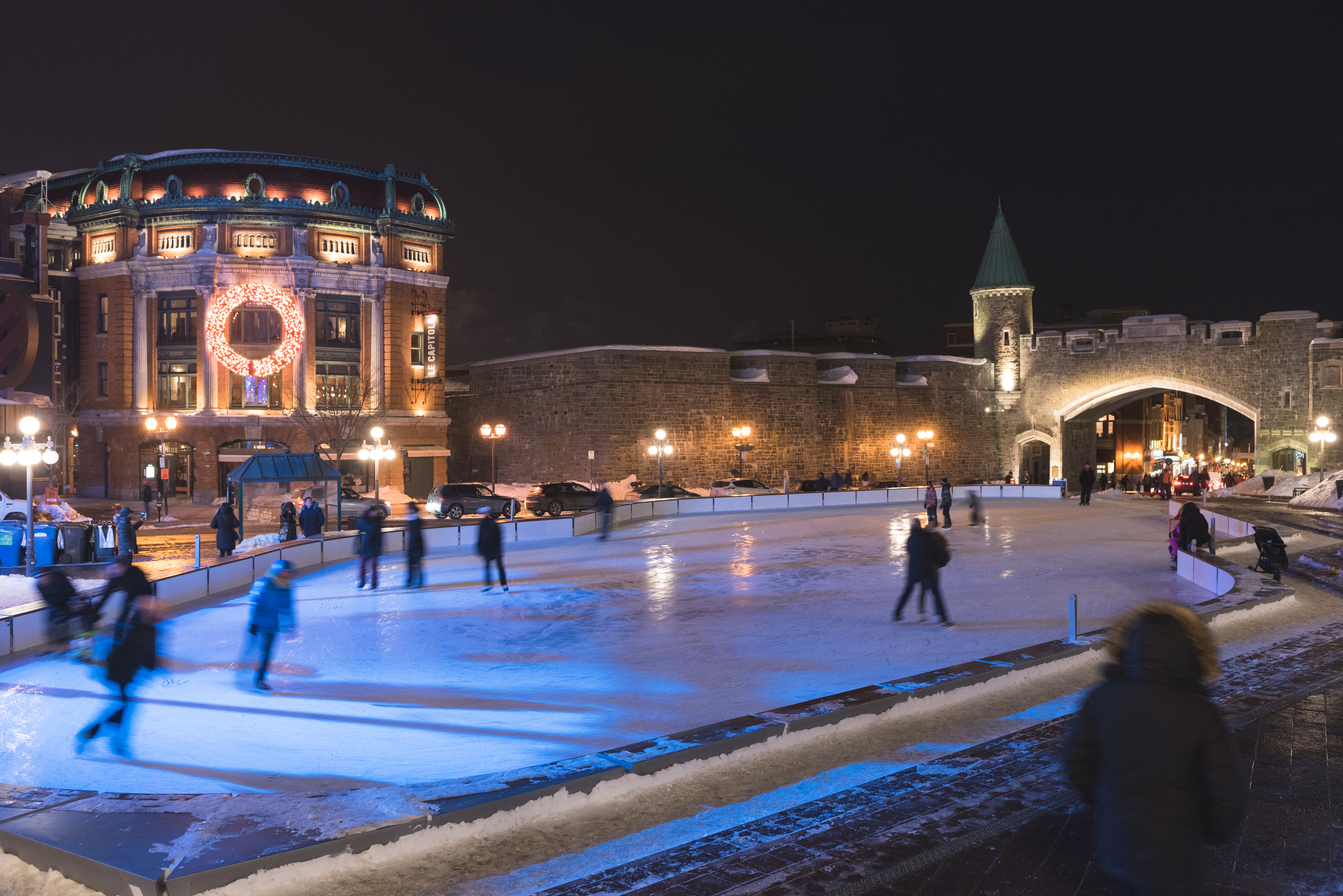 The skating rink at Place D'Youville in Quebec City. (Photo: Tourism Quebec / Francis Gagnon)